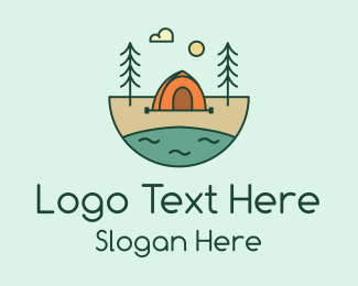 Explore - Lakeside Tent Camping logo design