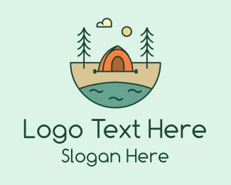 Camping - Lakeside Tent Camping logo design