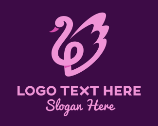 Beauty Girl - Pink Beauty Swan logo design
