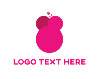 Couple - Pink Kisses logo design