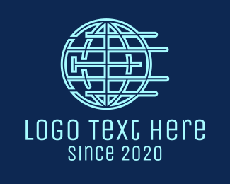 Data Technology - Blue Global Company logo design