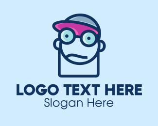 Geek - Boy Geek Line Art logo design
