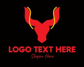 Matador - Bull Head Taurus logo design