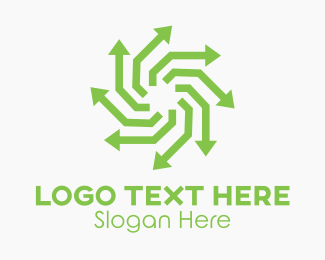 Hurricane - Green Recycling Arrows logo design