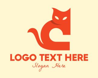 Meow - Orange Cat Letter C logo design