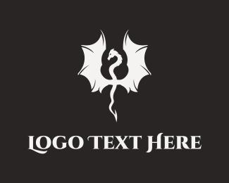 Mythical - White Dragon logo design