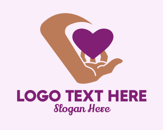 Dating Forum - Hand Purple Heart  logo design
