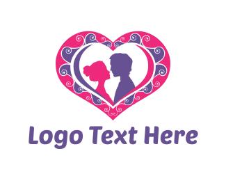Kiss - Couple Heart logo design