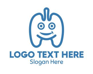 Inhale - Blue Lung Mascot logo design