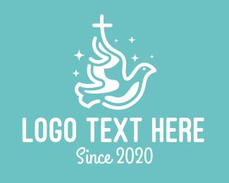 Peace - Blue Peaceful Religious Dove logo design