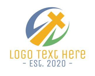 Green God - Colorful Cross Badge logo design