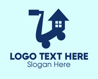 Push Cart - House Shopping Cart  logo design