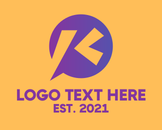 Language - Chat Bubble Letter K  logo design