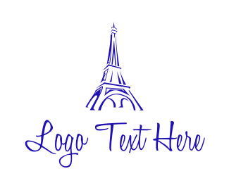 Purple Tower - Eiffel Tower Sketch  logo design