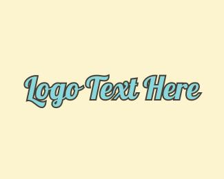 50s - Vintage Blue Wordmark Text logo design