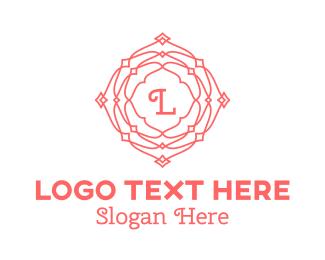 Red Rose - Pink Stroke Pattern Lettermark logo design