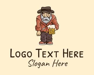 Bourbon - Old Man Beer  logo design