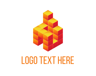 House - Orange Block Building logo design