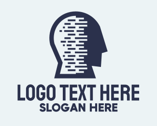 Information - Blue Code Head Profile logo design