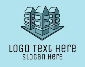 Buildings - Blue Apartment Buildings logo design