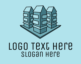 Tenement - Blue Apartment Buildings  logo design