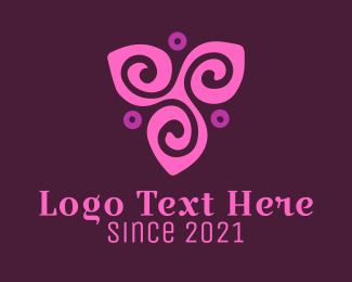 Green And Purple - Purple Flower logo design