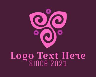 Green And Purple - Purple Flower logo design