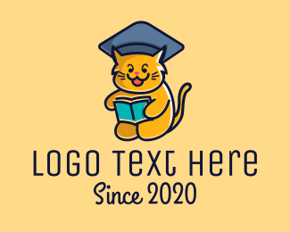 Learning - Cat School Training logo design