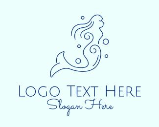 Bubbly - Blue Mermaid Line Art logo design