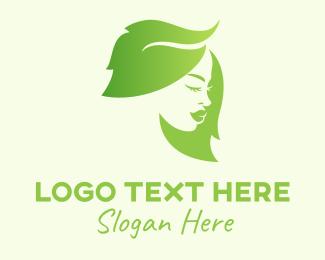 Redhead - Green Leaf Hair Woman logo design