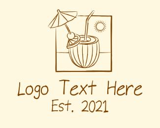 Cool - Sketch Design Coconut Juice logo design