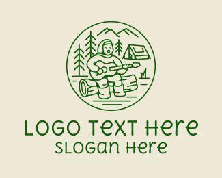 Hut - Forest Camp Music Singer logo design
