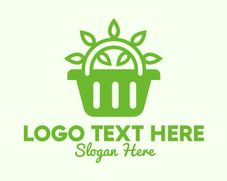 Leaf - Green Organic Leaves Basket logo design