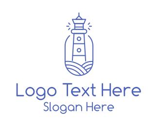Motel - Blue Monoline Lighthouse logo design