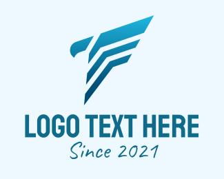 Initial - Blue Hawk Letter F logo design