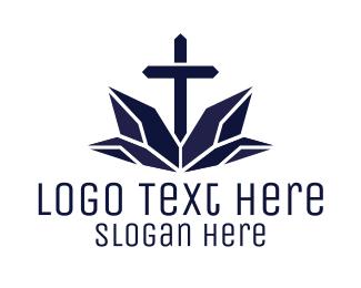 Religion - Blue Religion Cross  logo design