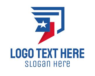 Logistics Service - American Courier Flag  logo design