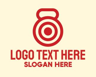 Shooting Range - Red Kettlebell Workout Target logo design