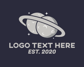 Universe - Twin Saturn Planet logo design