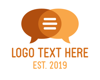 Message - Orange Speech Bubbles logo design