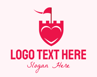 Valentines Day - Pink Heart Shield logo design