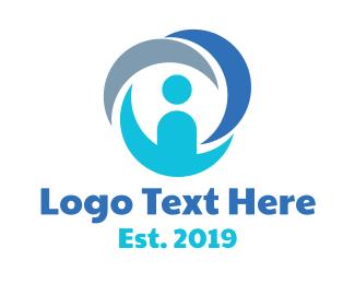 Person - Blue Circle Person logo design