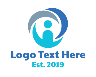 Person - Blue Circle Person logo design