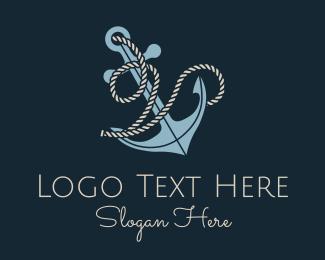 V - Anchor Rope Letter V logo design