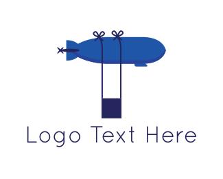 Hot Air Balloon - Blue Airship logo design