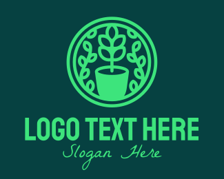 Home Garden - Green Pot Plant Garden logo design