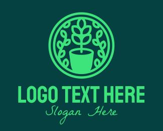 Garden - Green Pot Plant Garden logo design
