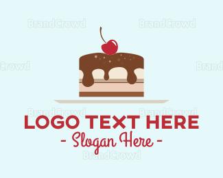 Cake - Cherry Cake Slice logo design