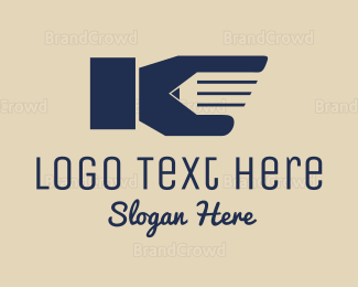 Hand - Pencil Hand logo design