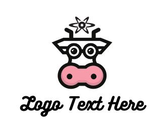 Atom - Cow Milk Atom logo design
